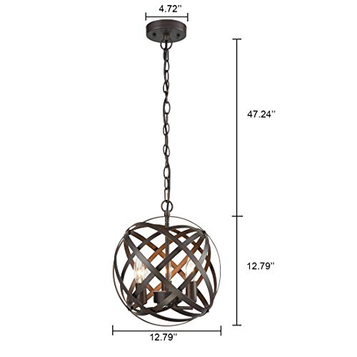 axiland industrial vintage retro lamp edison adjustable chain metal globe cage candle