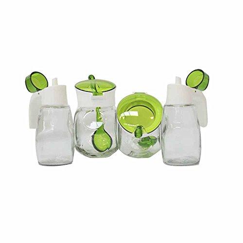 Juego de 2 recipientes y 2 dispensadores HEREVIN'Terral' de Cristal, Verde