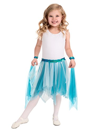 Little Adventures Teal Ballerina Fairy Tutu & Wrist Scarve Sets for Girls - One-Size (3-8 Yrs) (Easy To Make Fairy Tale Costumes For Adults)