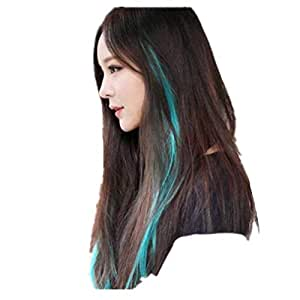 60 cm Party Highlights colorful Clip In Synthetic Hair Extensions,Straight Long Hairpiece GREEN