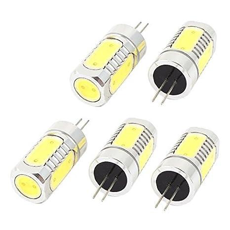 5 x ahorro de energía G4 7.5W 6D COB 5 Bombilla LED de luz blanca