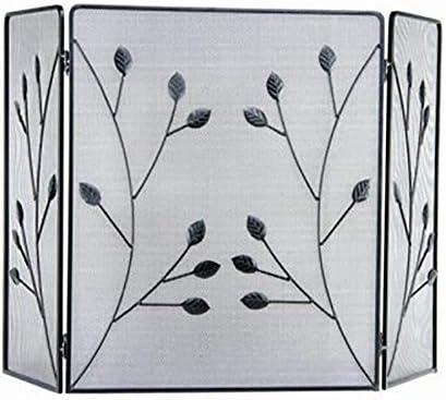 暖炉用品 アクセサ 暖炉エリアの装飾3パネル暖炉スクリーン、錬鉄メッシュ、ブラックを守るカバー安全フェンスをスパーク