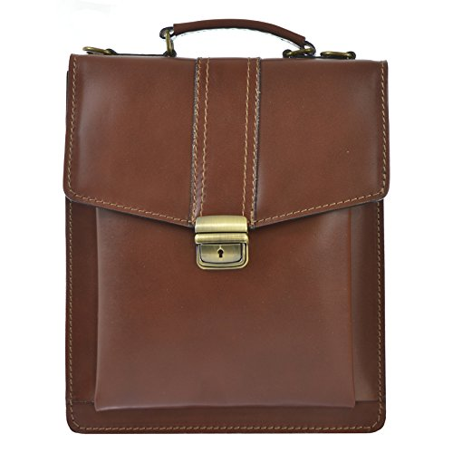 Leather Man's Italy Genuine Bag D7012 Cm Ctm Business In Shoulder 27x32x10 Made With Belt Briefcase Brown RP8PSEqwA