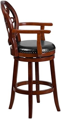 EMMA OLIVER 30 H Cherry Wood Barstool with Arms and Swivel Seat