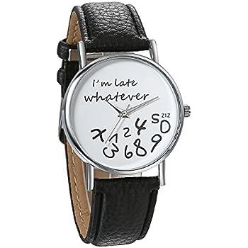 JewelryWe Unisex Female Women Ladies Girls Im Late, Whatever Love Gift Leather Strap Watches Quartz Wrist Watch
