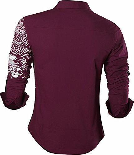 hommes Tops de de chemisiers loisirs boutonnés Jzs041 manches Sportrendy Chemises longues pour Winered Slim robe xtwfFFU