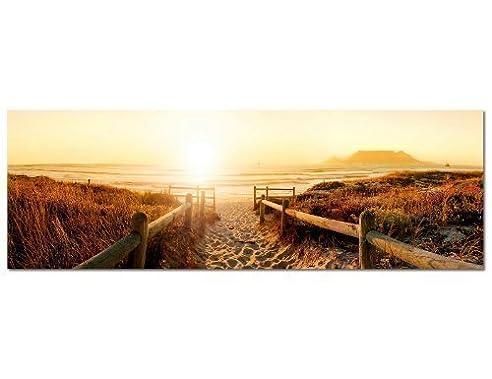 PANORAMA BILD 150x50cm (Strand Steg Meer Nordseestrand) Wandbilder Bilder  EXKLUSIVES Fotowandbild Auf Leinwand Und