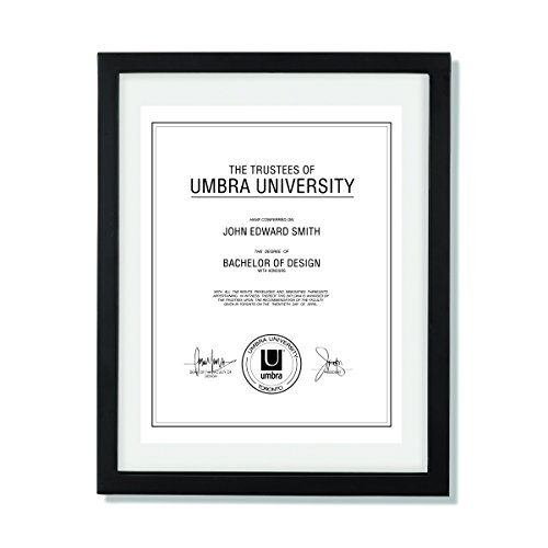 (Umbra Document - 11x14 Frame – Floating Frame for Displaying 8-1/2x11 or 11x14 Inch  Document, Diploma, Certificate, Photo or Artwork, Black)