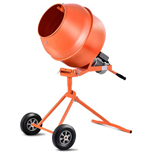Goplus 1/2HP Electric Concrete Cement Mixer Barrow Machine for Mixing Mortar, Stucco, Seeds (5 cubic...