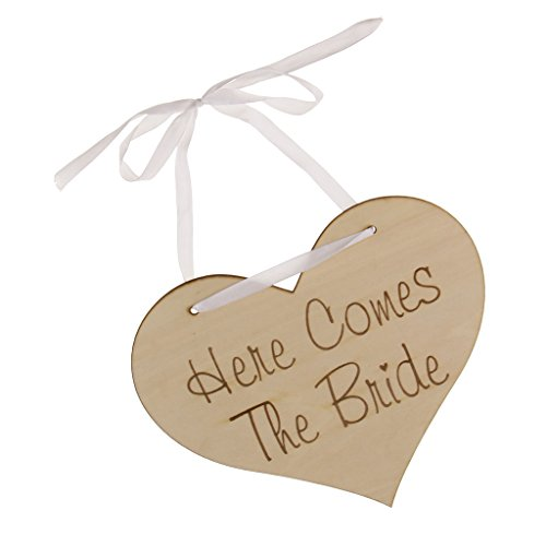 Homyl Wedding Here Comes The Bride Sign Vintage Shabby Wooden Plaque Heart Portable