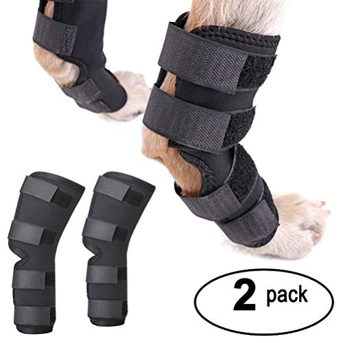 Zunea Dog Canine Rear Leg Brace Hock Joint Wrap Protector 2Pack Hind/Front Leg Compression Sleeve and Extra Supportive for Loss of Stability, Wound Injury and Sprain Healing of Arthritis - Black L