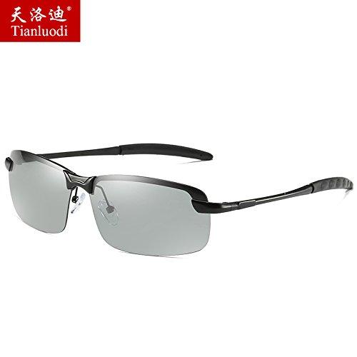 azulada Black noche gafas hombres de moda conducción del KOMNY sol polarizadas gafas día Frame color negra de Discoloration y bastidor cambiante gafas Anti de conductor de marea de sol FFzqwnPg