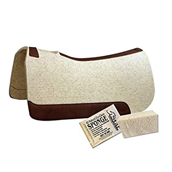 Image of Saddle Pads 5 Star Horse Saddle Pad - 1' Thick Western Contoured Natural Pad - The Performer Full Skirt 32' X 32' Free Sponge Saddle Pad Cleaner Included