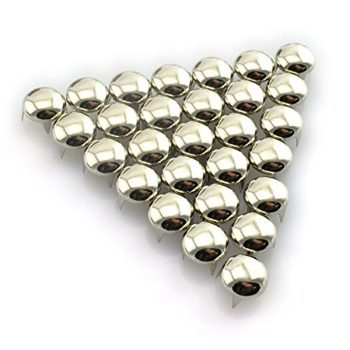 RuiLing 120pcs Silver DIY Nailhead Round Dome Studs Assorted Kit Leathercraft Rivet Metal Punk Spikes Spots for Punk Rock Leather Craft Clothes Belt Bag Shoes Jewelry Decorations 6/8/10/12mm