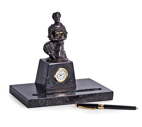Desk Accessories - Father of Medicine Marble Pen Stand & Clock - Medical Office Desktop - Clock Table Kensington