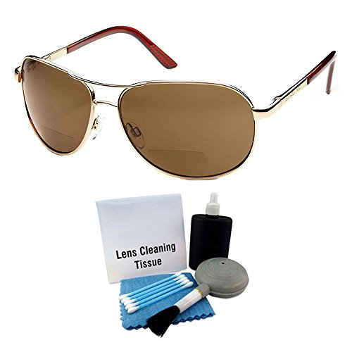Suncloud Aviator Polarized Sunglasses: Gold Frame/Brown Polarized Polycarbonate Lenses with Lens Cleaning Kit