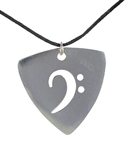 From War to Peace Silver-Dipped Bass Pick Rock and Roll Patina Pendant Necklace on Adjustable Natural Fiber Cord
