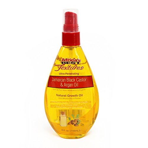 Africa's Best Textures Jamaican Black Castor Natural Growth Oil, Revives Fragile, Dry, Lifeless Hair, 5 Fluid Ounces