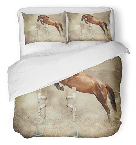 Emvency 3 Piece Duvet Cover Set Breathable Brushed Microfiber Fabric Jump to School Jumper of Horse Stallion Show Animals Boots Dust Equestrian Sand Bedding Set with 2 Pillow Covers Full/Queen Size -