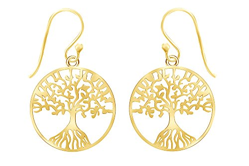 Tree Shape Earring (14k Yellow Gold Over Sterling Silver Tree of Life Drop Earrings)