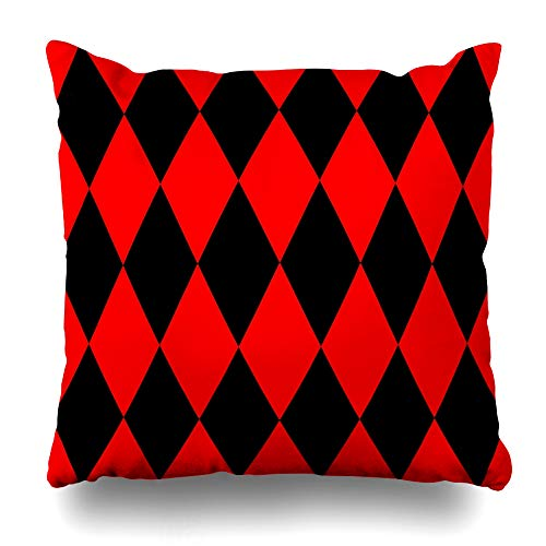 "Ahawoso Decorative Throw Pillow Cover Diamond Circus Black Red Pattern Abstract Harlequin Baby Checkerboard Checks Design Home Decor Zippered Square Size 20""x20"" Cushion Pillowcase"