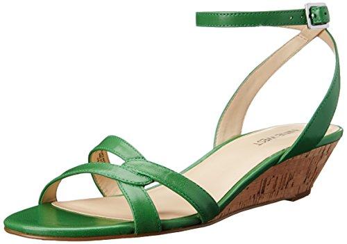 Nine West Women's Valaria Leather Wedge Sandal, Green, 10 M US