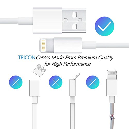 Charger, Certified TRICON 5W 1A USB Universal Portable Wall Power Adapter Mini Cube with 6 FEET/2M iPhone Charger Lightning to USB Charging Cable (2 Pack) White by Tricon (Image #2)