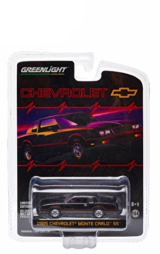 1985 Chevrolet Monte Carlo SS Black with Red Stripes Hobby Exclusive in Blister Pack 1/64 by Greenlight 29814
