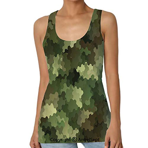 Frosted Glass Effect Hexagonal Abstract,Casual Tank Tops 3D Printed Sleeveless Workout Scoop Neck Ra