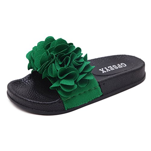Wedge JRenok Beach Femme Fond Anti Slide d'été dérapant Bowknot Sandales et Plat Slipper épais Fleur Sandales Chaussures Unique vert A rSwaOnqrR