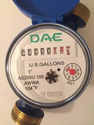 "DAE AS250U-100 1"" Water Meter , Measuring in Gallon + Couplings"