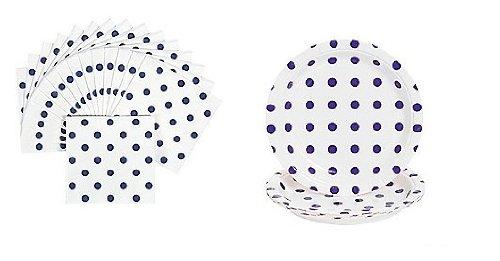 Purple Polka Dot Party Set - Plates Napkins