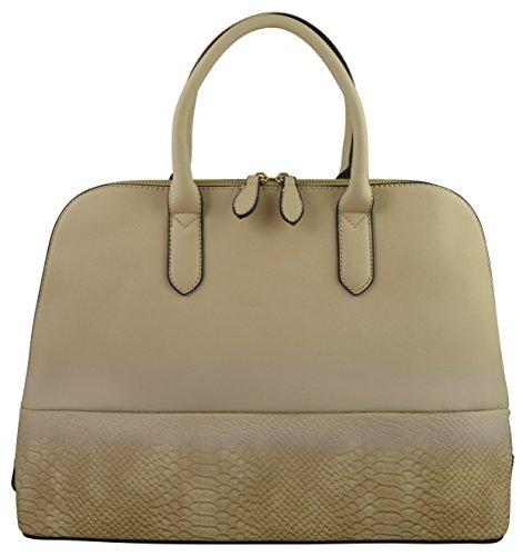 Lola Women's Elegant Two Tone Blend Satchel Bag With Snake Finish ( - Tori And Burch