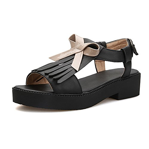 AllhqFashion Womens Microfiber Assorted Color Buckle Open Toe Low-Heels Sandals Black ODxsmXSsRg