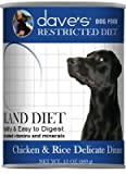 Dave's Restricted Bland Diet, Chicken & Rice For Dogs, 13 oz Can (Case of 12 )
