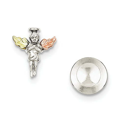 925 Sterling Silver 12k Angel Pin/tie Tac Man Tie Bar/Fine Jewelry Gift For Dad Mens For Him