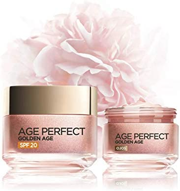 L'Oréal Paris Age Perfect Golden Age Set de Crema de Día Rosa con Protección Solar SPF 20 y Contorno de Ojos Antiojeras, Antiarrugas y Luminosidad, Pieles Maduras y Apagadas, 50 ml y 15 ml