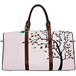 "Flying Birds Decor Multi function Travel Bag,Cute Bird Family on the Windy Tree Floral Branches Baby Mother Happiness Decorative Art for Dating,18.62""L x 8.5""W x 9.65""H"