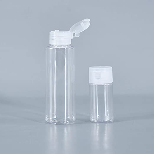6 Botellas de Viaje Transparentes de 50 ml con Tapa abatible Beaupretty sin BPA Blanco Blanco 5pcs