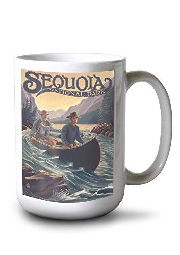 (Sequoia National Park - Canoe in Rapids (15oz White Ceramic Mug))