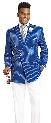Double Breasted Striped Suit (EJ Samuel 2 Piece Striped Double Breasted Royal Blue Jacket and White Pants Men's Suit M2707-ROYAL-56L)