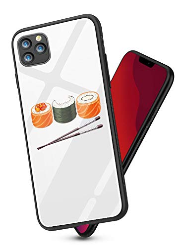 Price comparison product image Oihxsetx Compatible for iPhone 11 Pro Max 6.5'' Tempered Glass Case, Clear Cute Pattern Glass Back Soft Silicone Rubber Gel Shockproof Bumper [Anti-Yellow] Transparent Protective Cover - Sushi