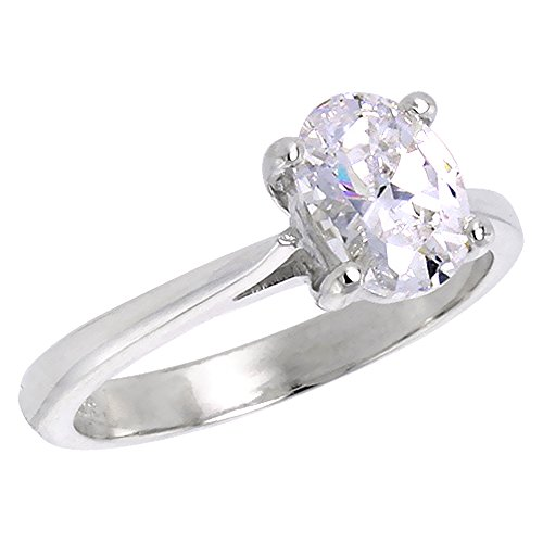 Sterling Silver Cubic Zirconia Solitaire Engagement Ring Oval shape 1 1/4 ct, size (Cubic Zirconia Oval Shape)