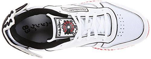 Reebok Heren Keith Haring Klassiek Leer Lux Fashion Sneaker Wit / Zwart / Techy Rood