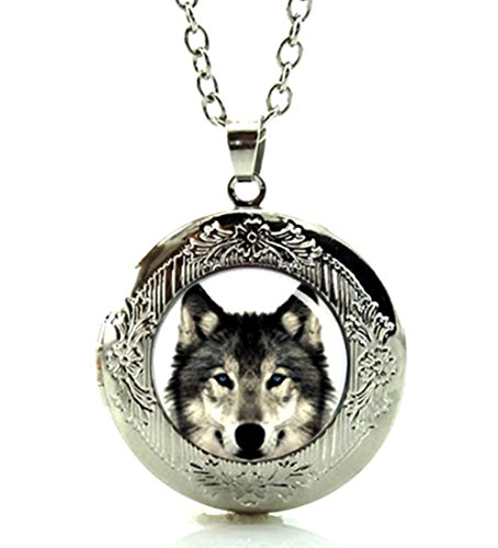 Silver Tone Wolf Locket Pendant Necklace Glass Cabochon Art Picture Fashion Jewelry