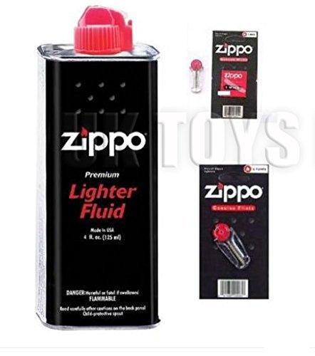 2 X Zippo Lighter Fluid Fuel Petrol 125ml Tin + Wick + 6 Flints