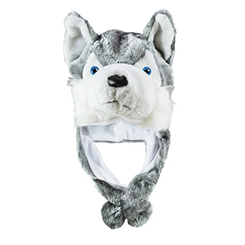 Cute Wolf Costumes (Husky Timber Wolf Cute Plush Animal Winter Hat Warm Winter Fashion (Short))