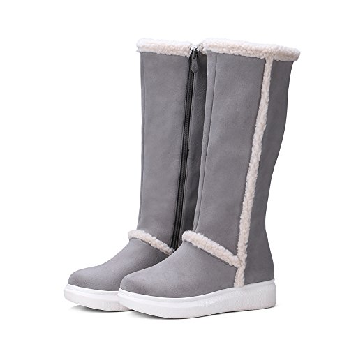 Hecater Botas De Nieve De Media Pantorrilla Para Mujer Botas De Invierno De Exterior Botas De Piel Sintética Linning Zapatos Warm Slip On Shoe Gray