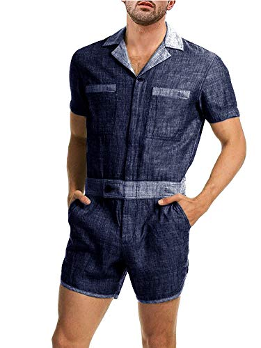 Enjoybuy Mens Summer Chambray Short Sleeve Rompers Lapel Collar One Piece Button Up Casual Jumpsuit Shorts