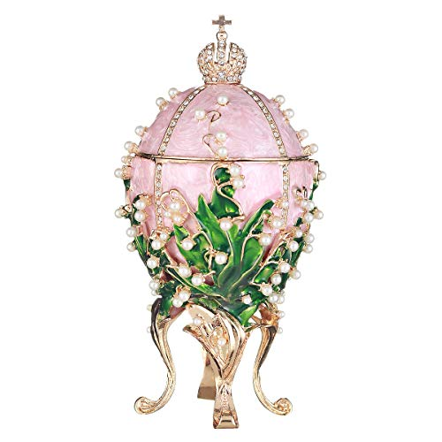 danila-souvenirs Russian Faberge Style Egg/Trinket Jewel Box/Music Box with Russian Emperor's Crown & Flowers 6.3'' Pink